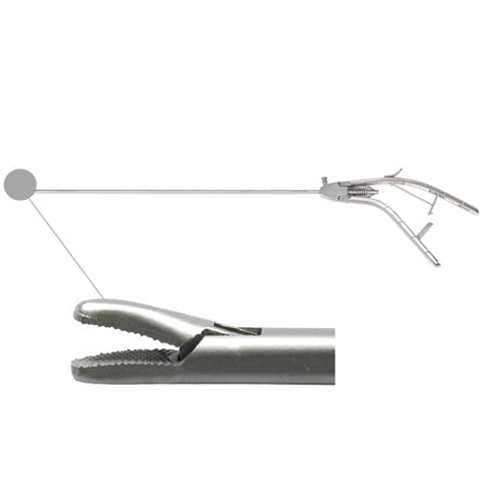 Laparoscopic needle holder curved tip (Gun style handle)