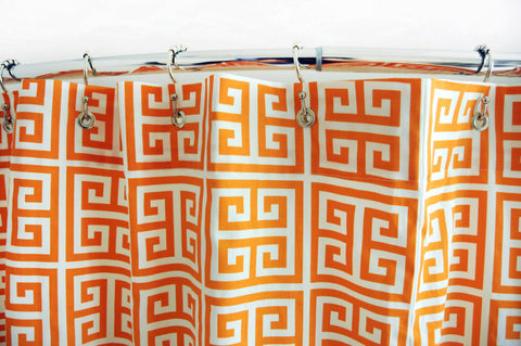 Mandarin Greek Key Shower Curtain by Elisabeth Michael