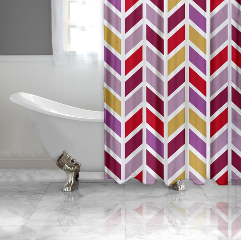 Fall Fashion Chevron Fabric Shower Curtain