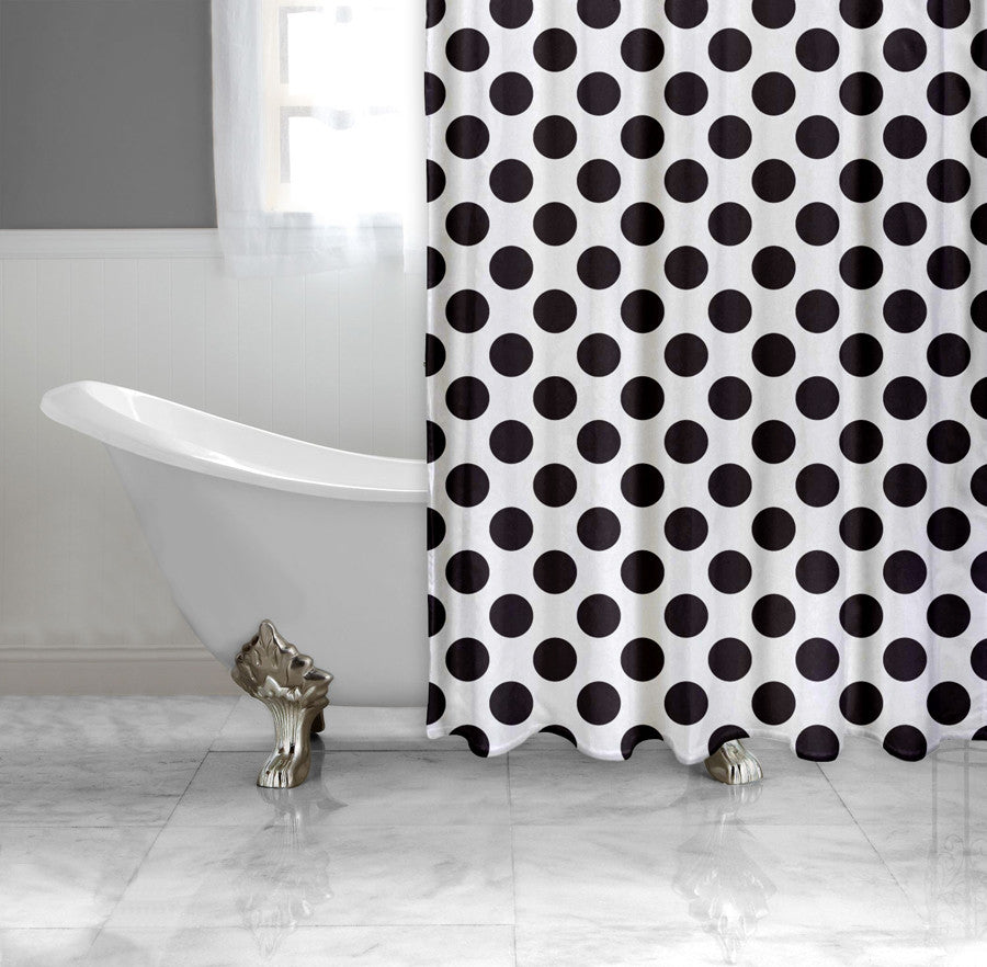 Luxury black and gold shower curtains - Black Polka Dot Curtains White And Black Polka Dot Fabric Shower Curtain