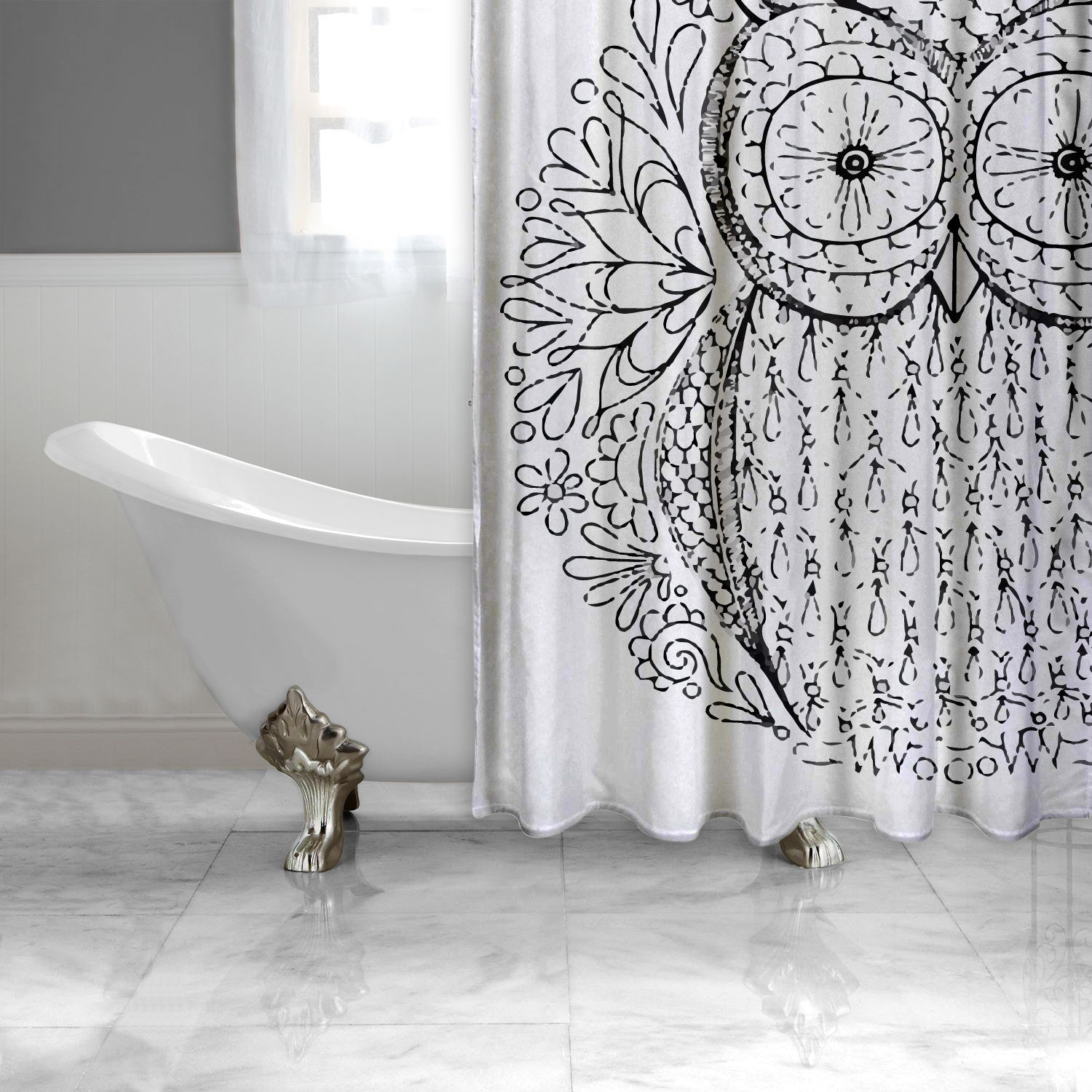 Black and White Owl Shower Curtain EXTRA LONG-Adult Coloring Book Series