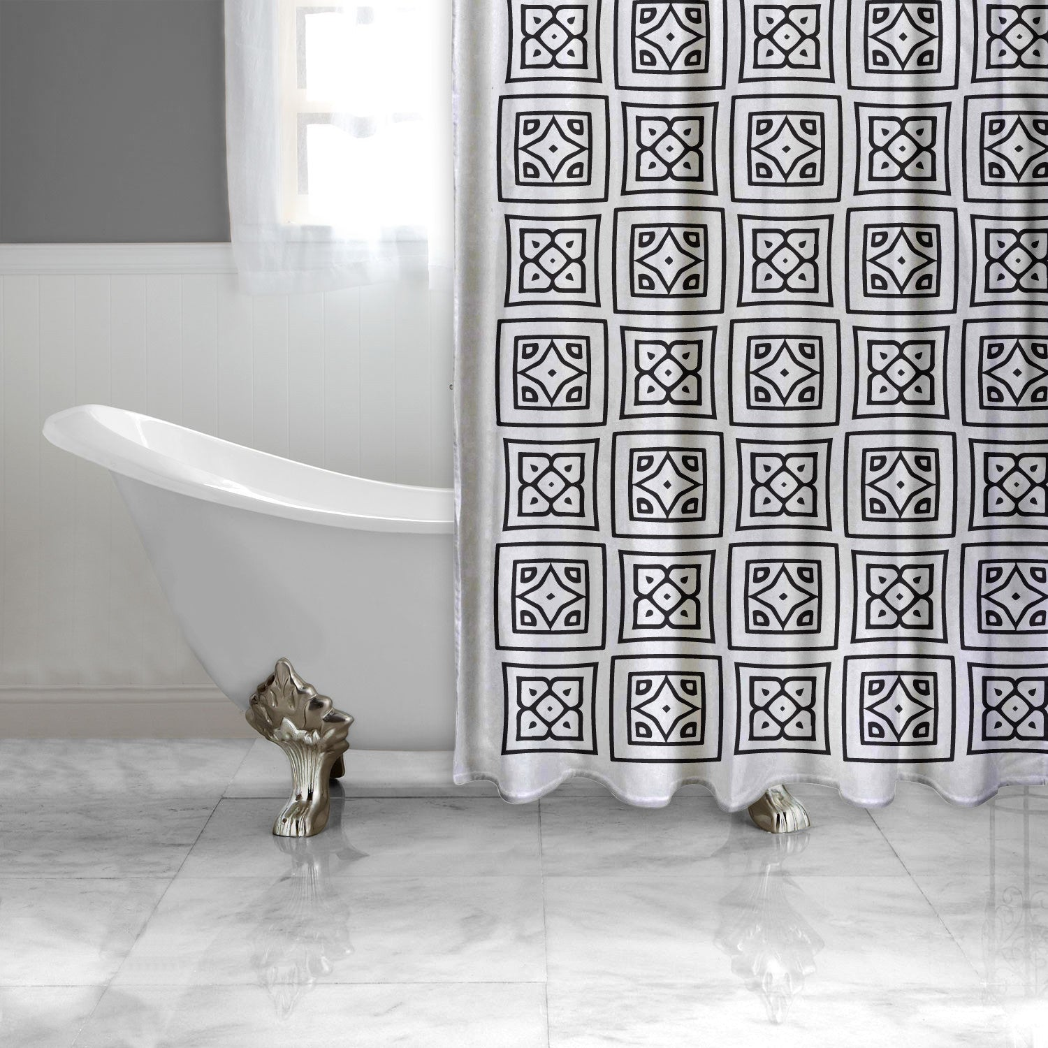 Black and White Square Pattern Shower Curtain-EXTRA LONG-Adult Coloring Book Series