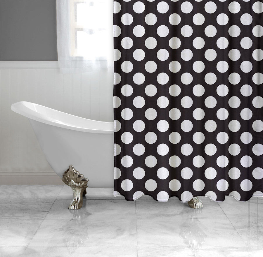 Black and White Polka-Dot Fabric Shower Curtain, black and white ...