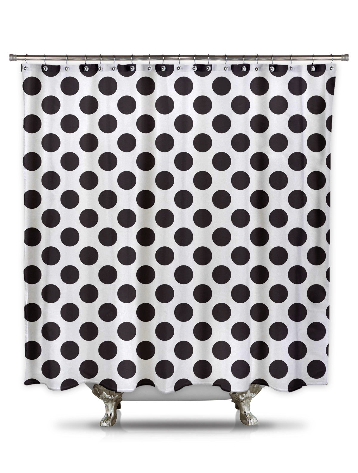 White and Black Polka-Dot Fabric Shower Curtain