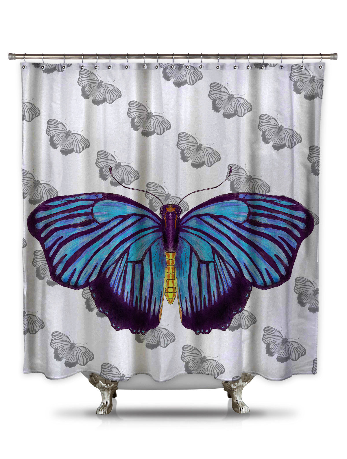 Blue Butterfly by Catherine Holcombe Fabric Shower Curtain