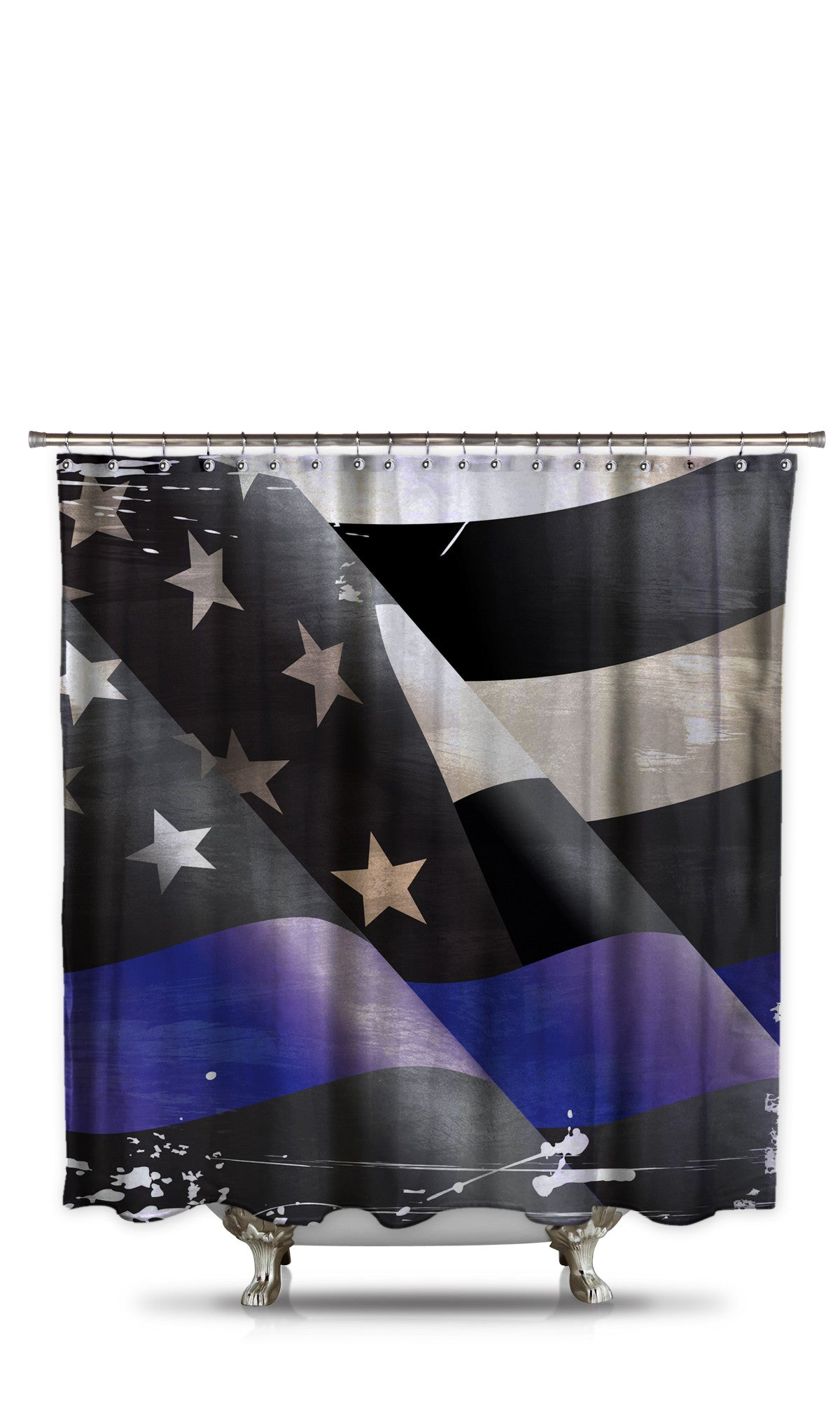 Thin Blue Line Shower Curtain Style 1