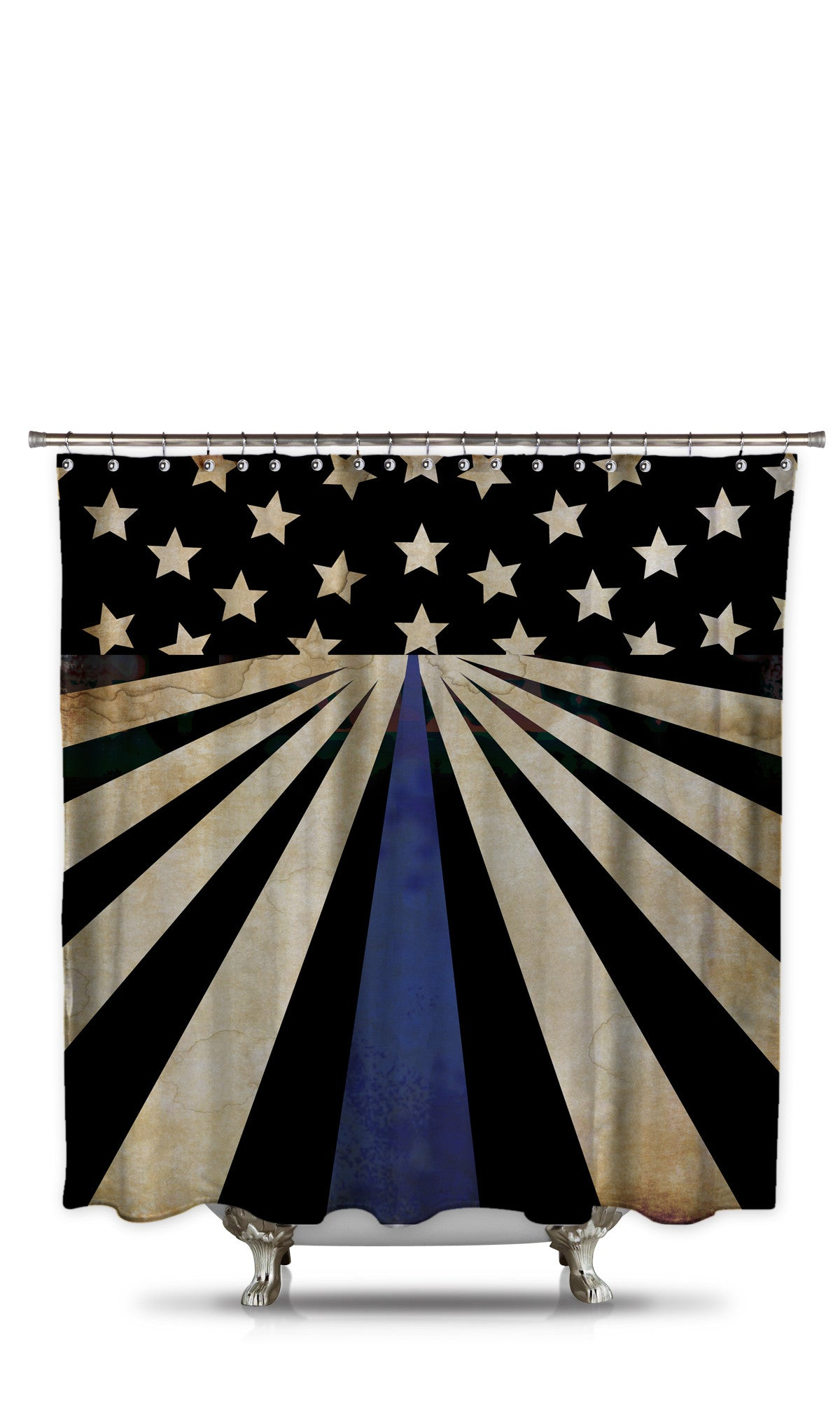 Thin Blue Line Shower Curtain Style 2