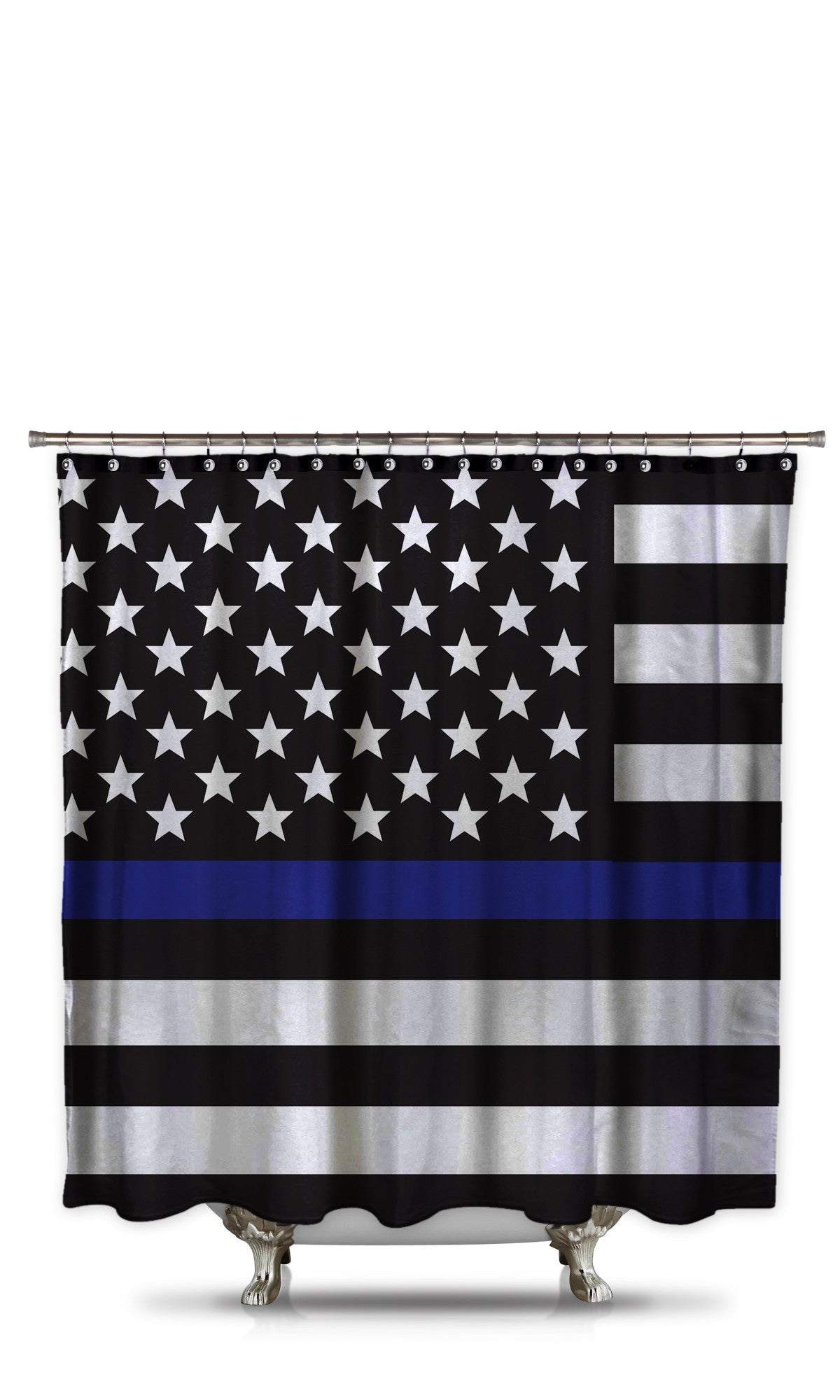 Thin Blue Line Shower Curtain Style 3