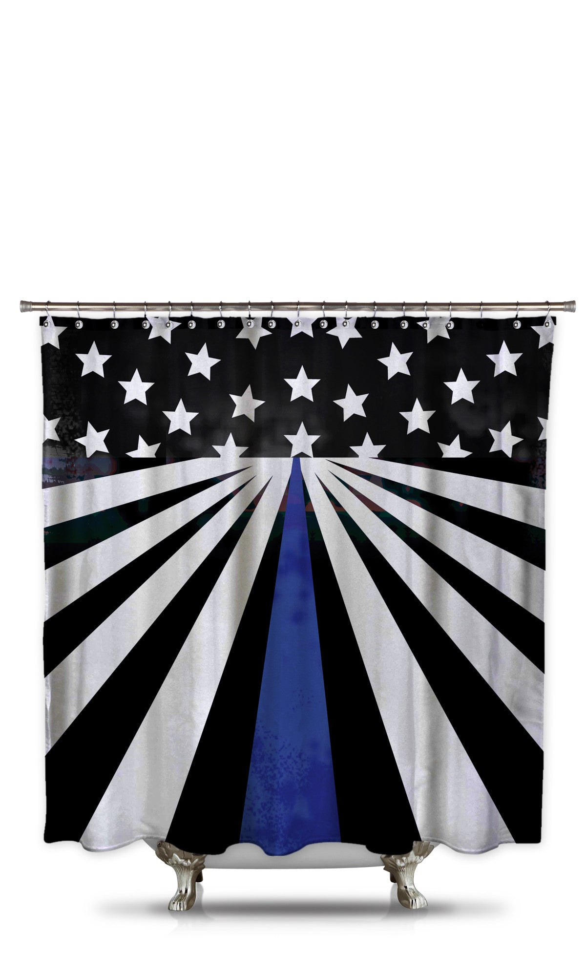 Thin Blue Line Shower Curtain Style 4