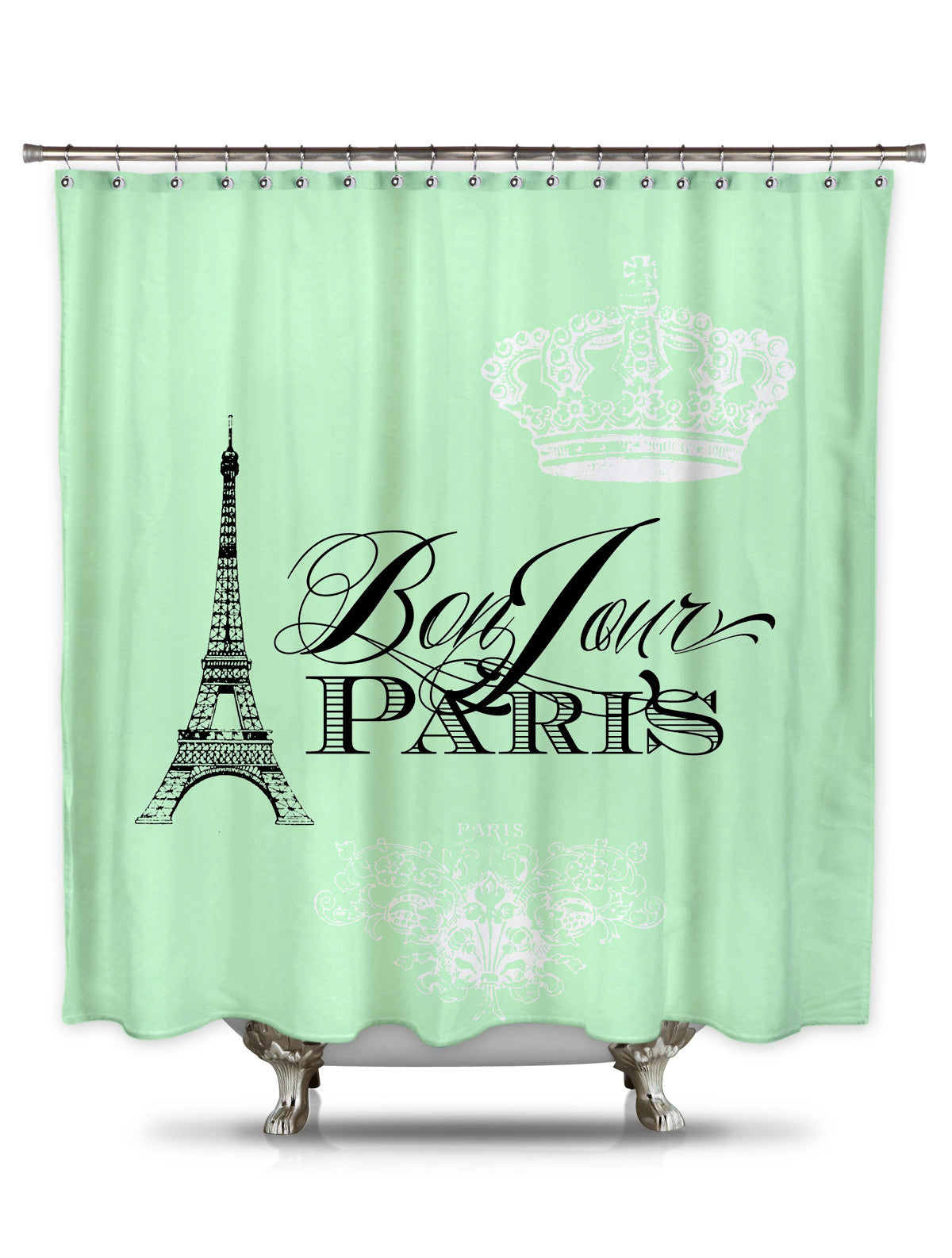 Bonjour Paris Mint Green By Catherine Holcombe Fabric Shower Curtain Showercurtainhq