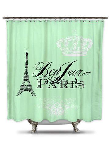 Bonjour Paris Mint Green by Catherine Holcombe Fabric Shower Curtain