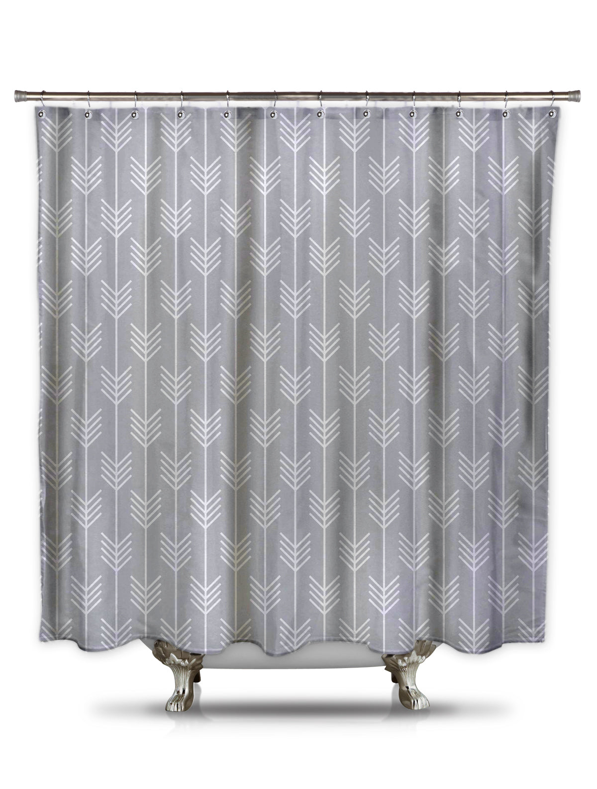 Gray Arrows Fabric Shower Curtain by Fred DePaoli