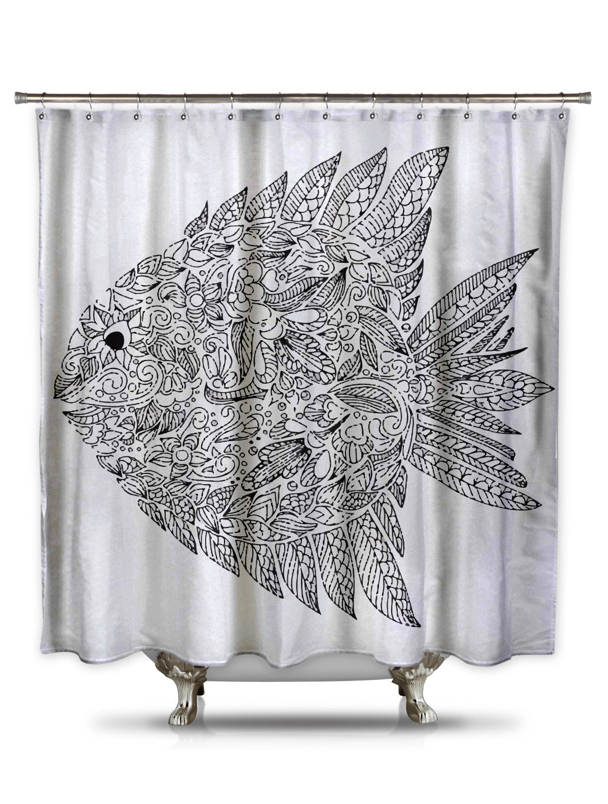 Black and White Fish Shower Curtain-Adult Coloring Book Series
