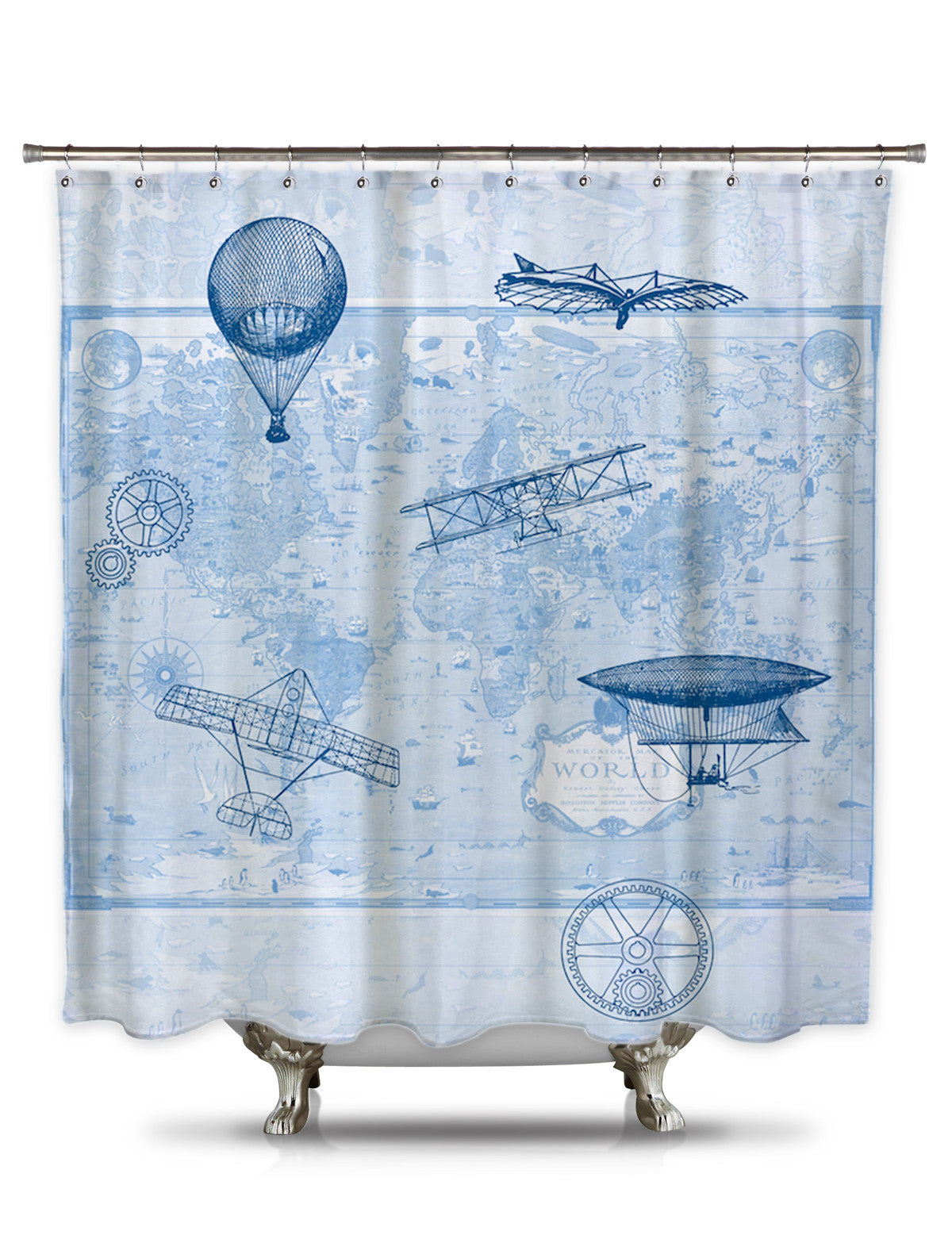 Brief History of Flight by Catherine Holcombe Fabric Shower Curtain ...
