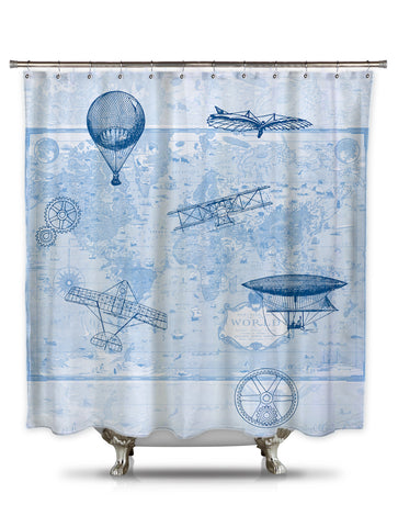 Brief History of Flight by Catherine Holcombe Fabric Shower Curtain