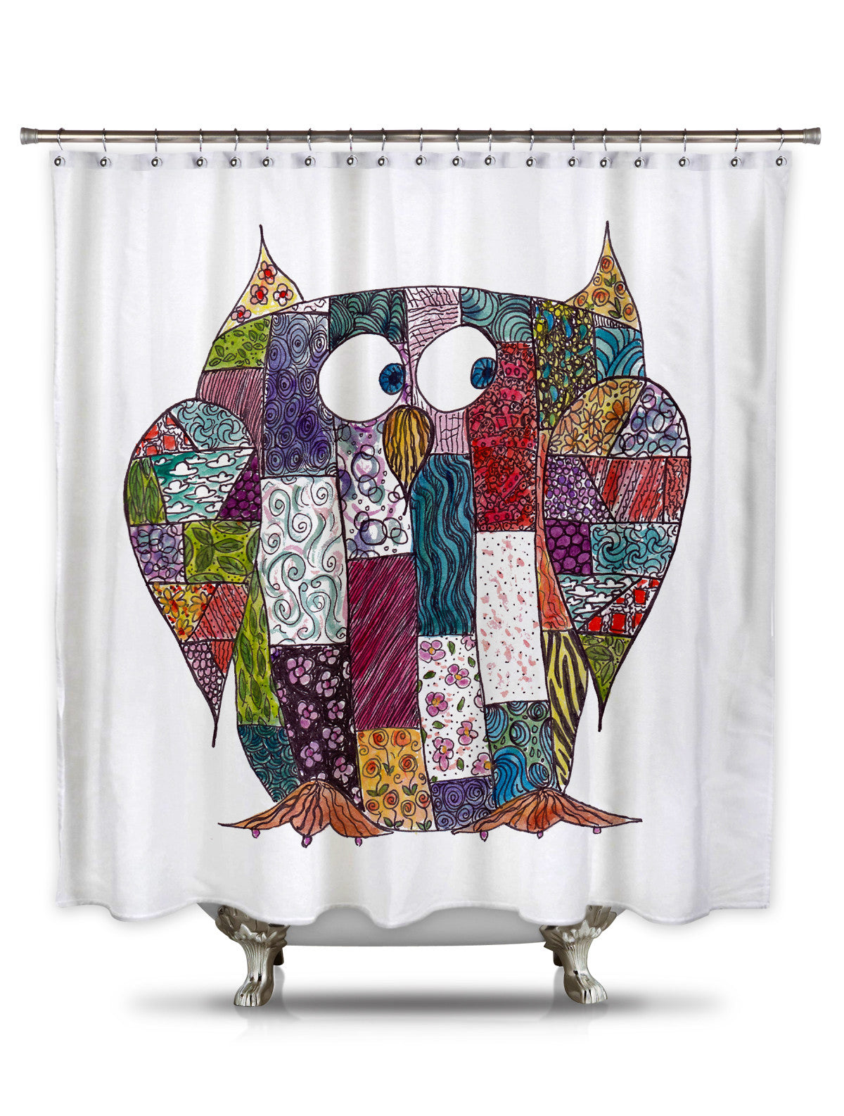 Log Cabin Owl by Catherine Holcombe Fabric Shower Curtain
