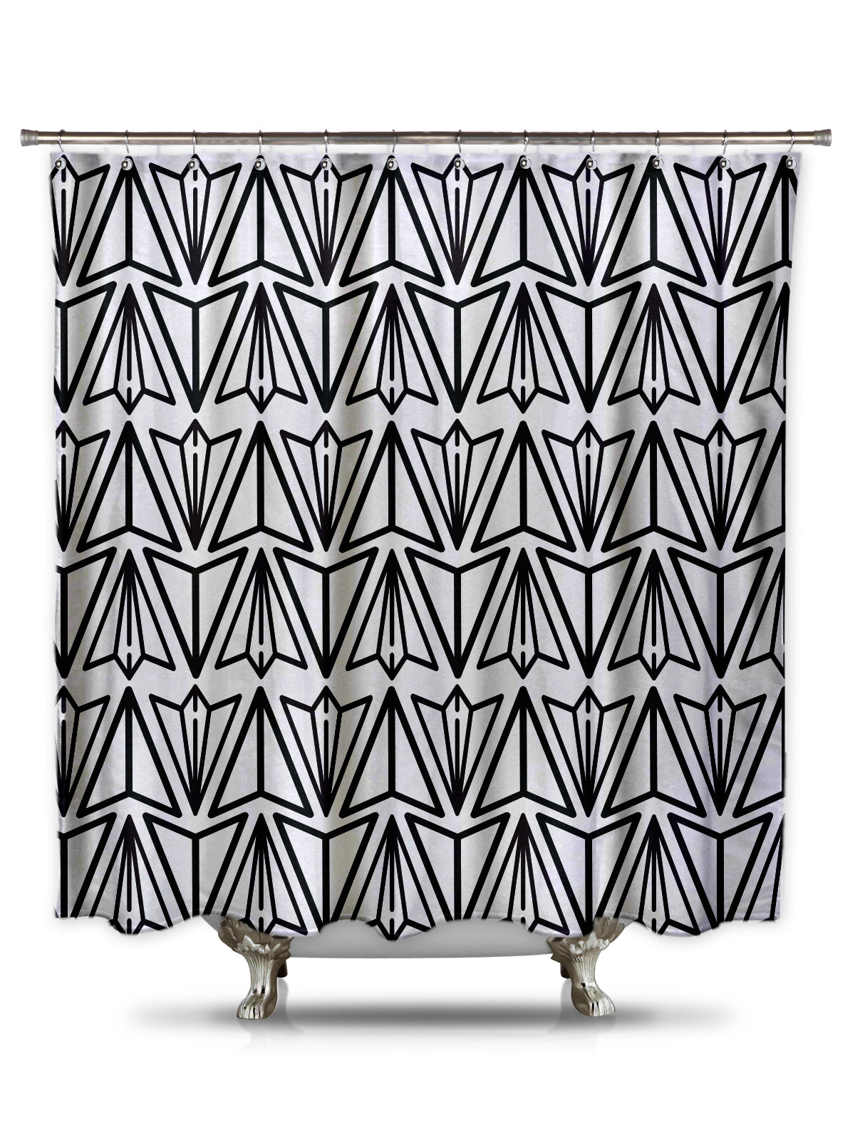 Paper Airplane Black and White Shower Curtain by Fred DePaoli