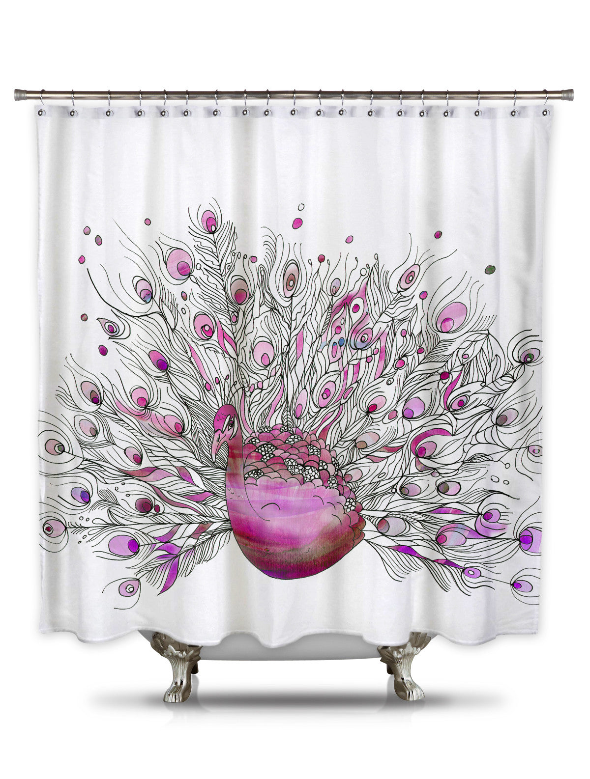 Pink Peacock By Catherine Holcombe Fabric Shower Curtain