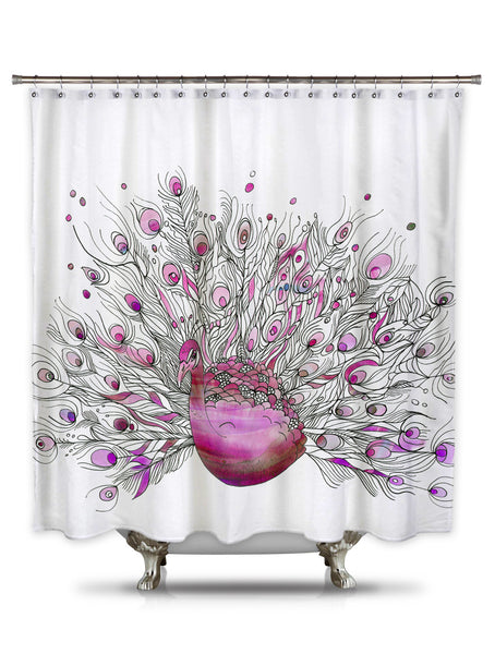Pink Peacock By Catherine Holcombe Fabric Shower Curtain Showercurtainhq Com