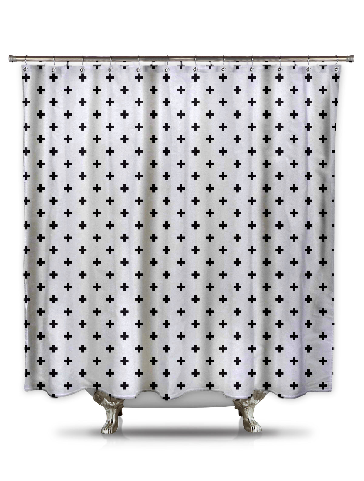 Black Plus Signs Fabric Shower Curtain by Fred DePaoli