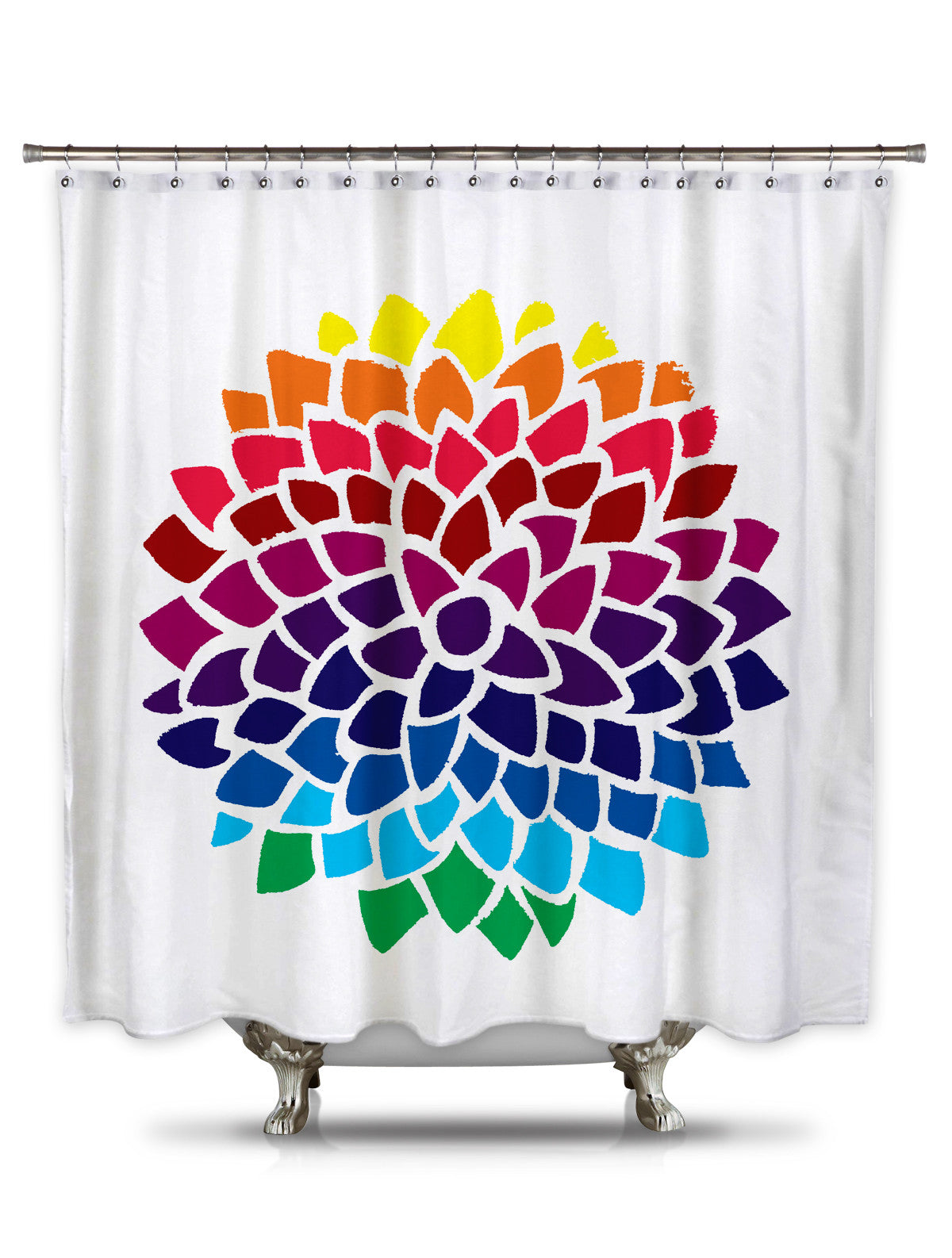 Rainbow Dahlia by Catherine Holcombe Fabric Shower Curtain