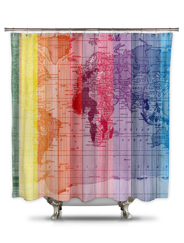 Rainbow World Map by Catherine Holcombe Fabric Shower Curtain