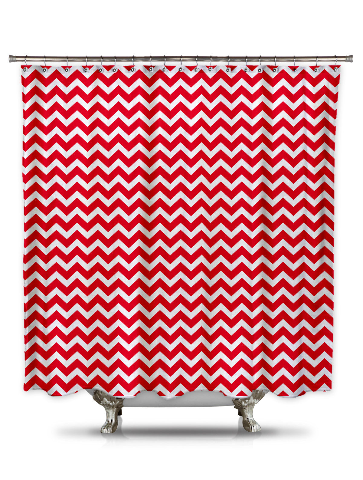 Red and White Chevron Fabric Shower Curtain