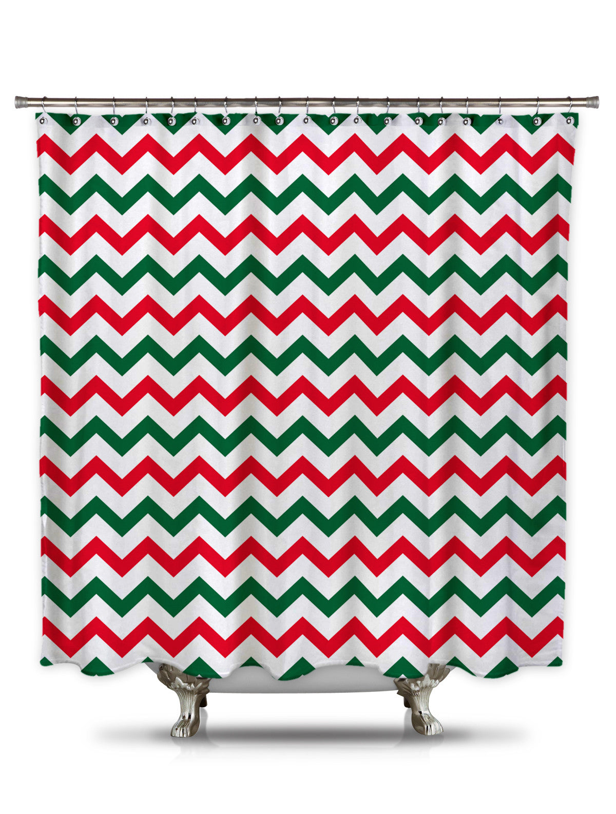 Red and Green Chevron Shower Curtain Christmas shower curtain