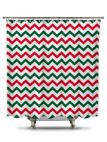 Red and Green Chevron Shower Curtain