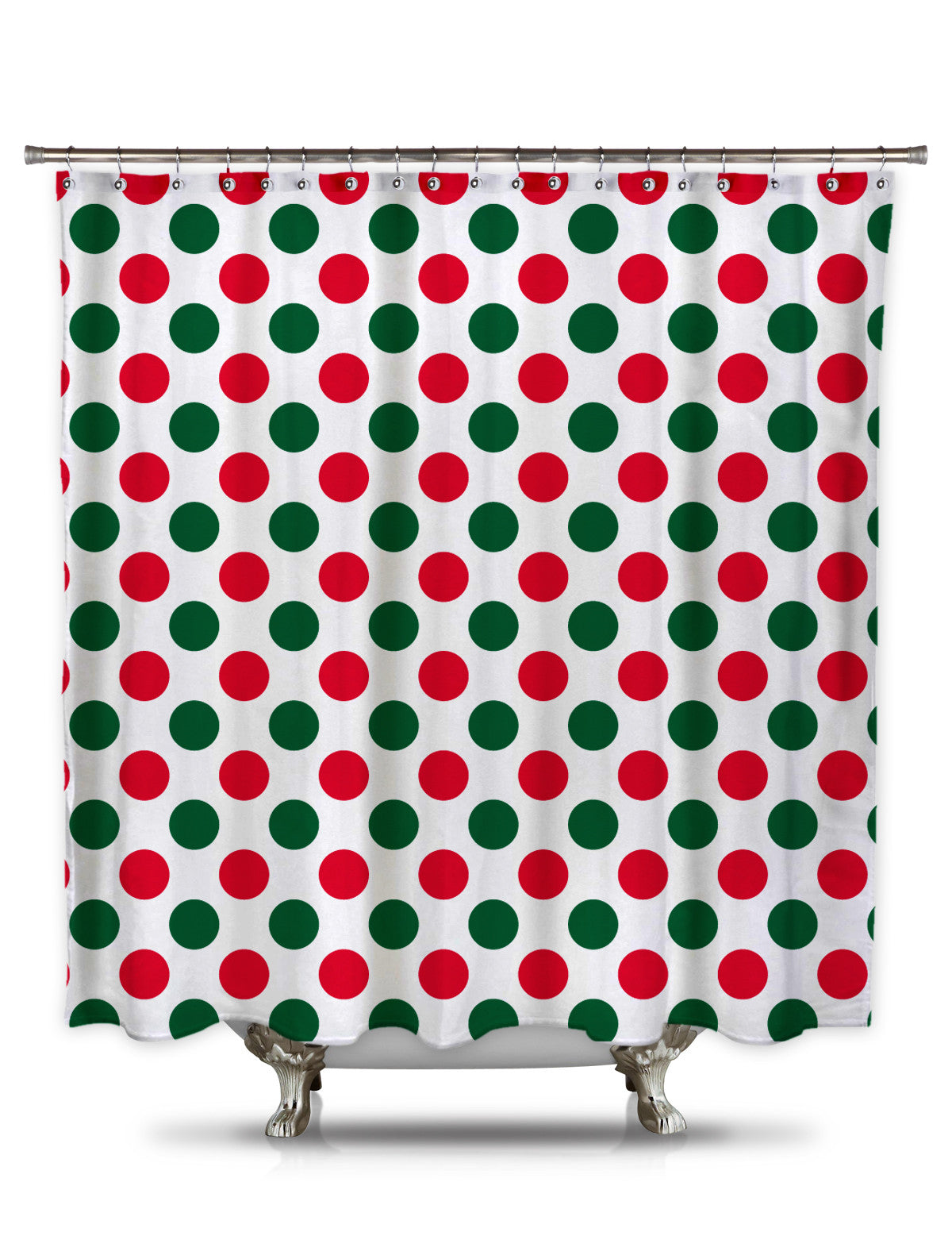 Red and Green  Polk-A-Dot Fabric Shower Curtain