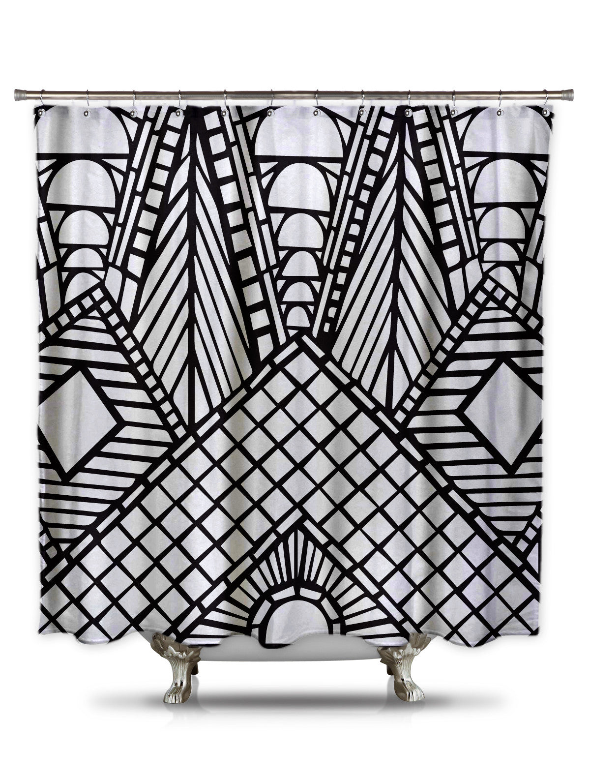 Black and White Roof Peak Shower Curtain-EXTRA LONG-Adult Coloring Book Series
