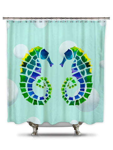 Seahorse Love by Catherine Holcombe Fabric Shower Curtain
