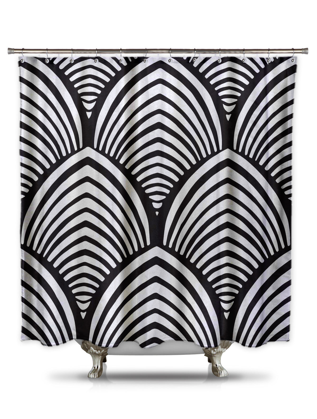 Black and White Shell Pattern Shower Curtain-EXTRA LONG-Adult Coloring Book Series