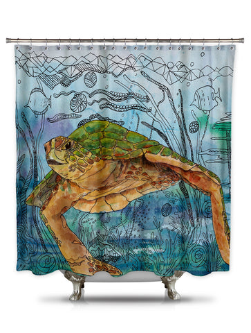 Shelly Shower by Catherine Holcombe Fabric Shower Curtain