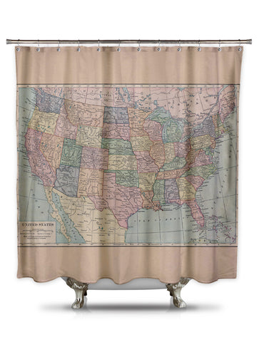 Vintage Map of the United States Shower Curtain by Catherine Holcombe