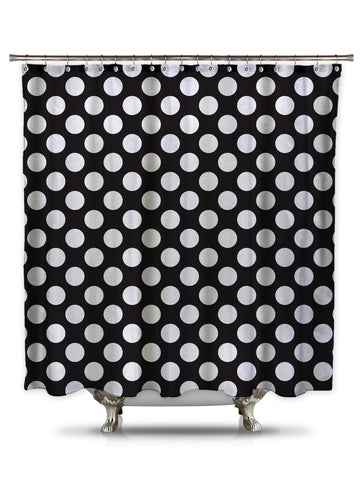 Black and White Polka-Dot Fabric Shower Curtain