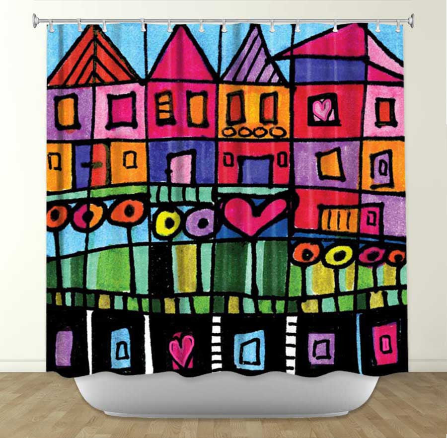 DiaNoche Designs Happy Town by Dora Ficher Fabric Shower Curtain
