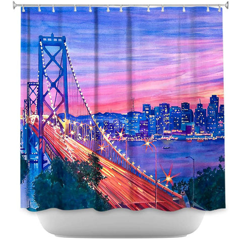 San Francisco Nights by David Lloyd Glover Fabric Shower Curtain