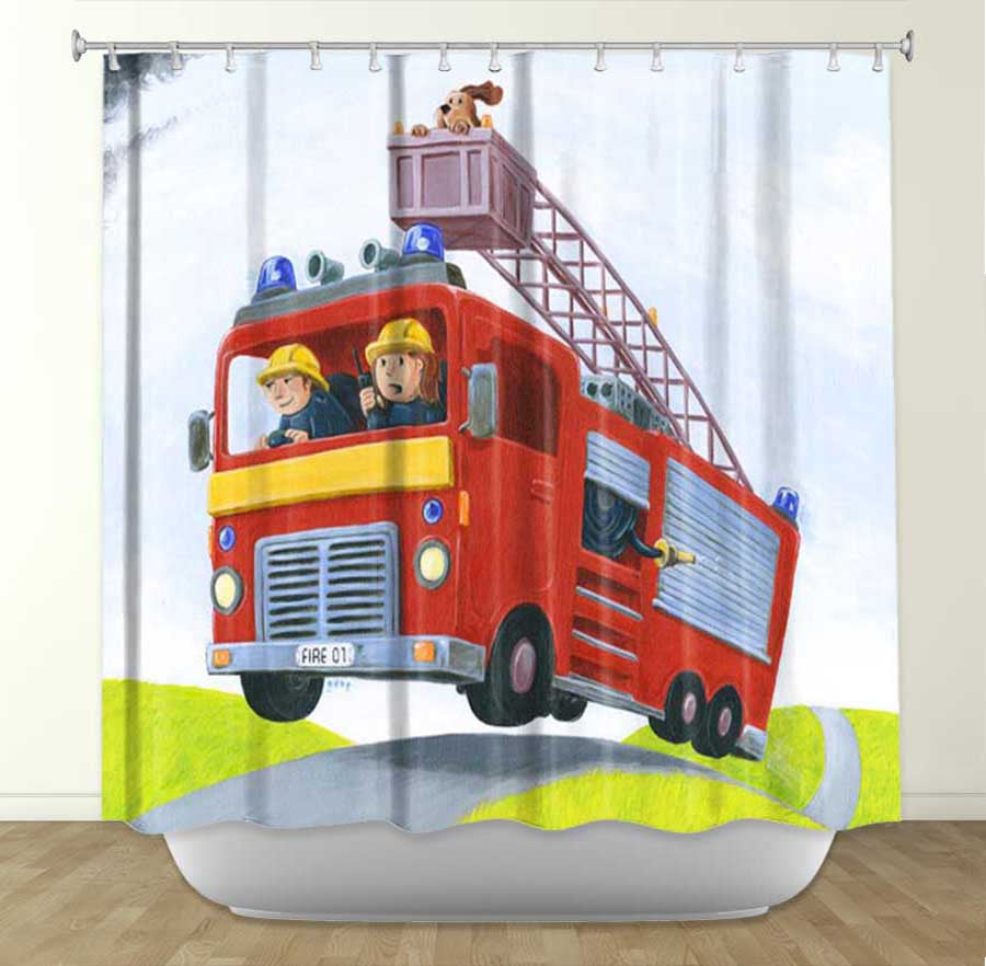 DiaNoche Designs  FIRE by Gabe Cunnett Fabric Shower Curtain