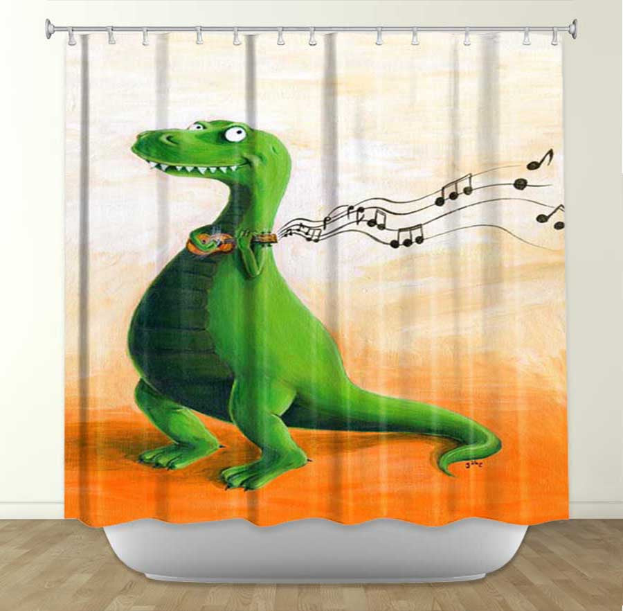 DiaNoche Designs Strum by Gabe Cunnett Fabric Shower Curtain