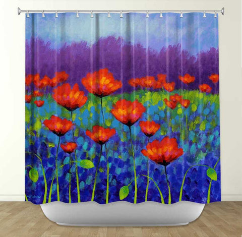 DiaNoche Designs  Poppy Meadow by John Nolan Fabric Shower Curtain