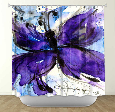 DiaNoche Designs Butterfly Song no. IV by Kathy Stanion Fabric Shower Curtain