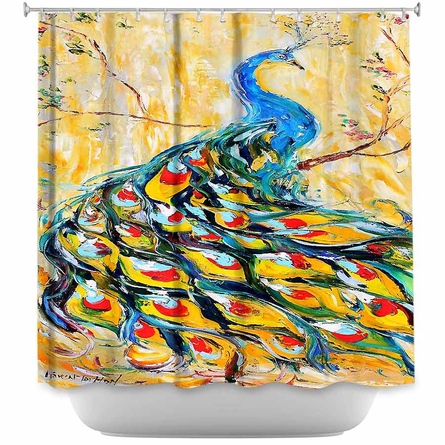 Luminous Peacock I by Karen Tarlton Fabric Shower Curtain