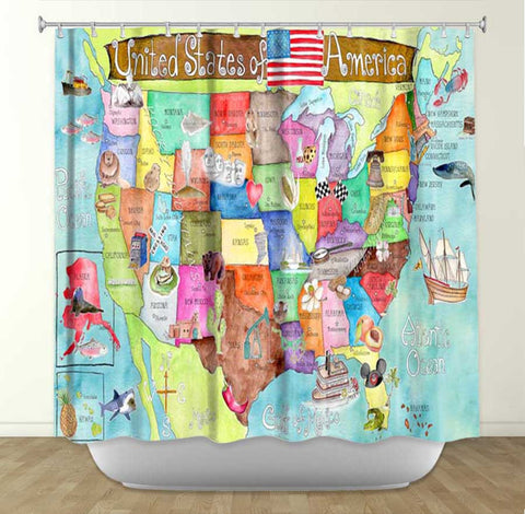 DiaNoche Designs United States of America MAP by Marley Ungaro Fabric Shower Curtain