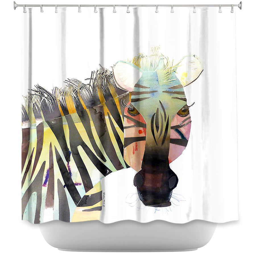 DiaNoche Designs Zebra by Marley Ungaro Fabric Shower Curtain