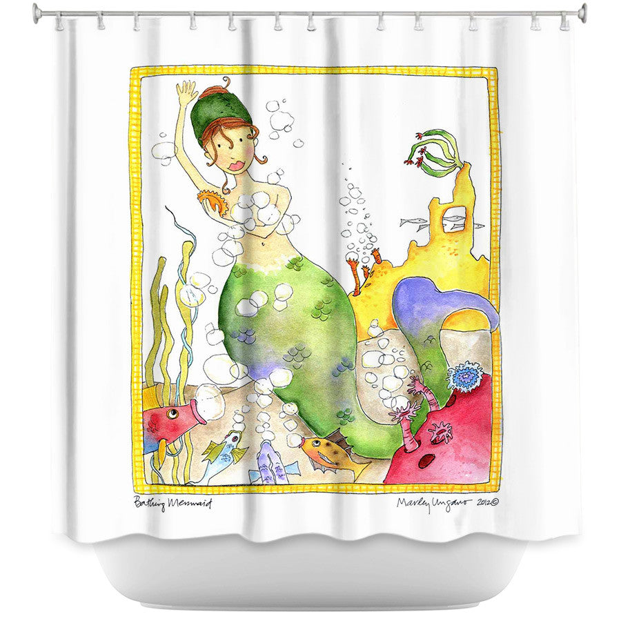 DiaNoche Designs, Bathing by Marley Ungaro, Fabric Shower Curtain