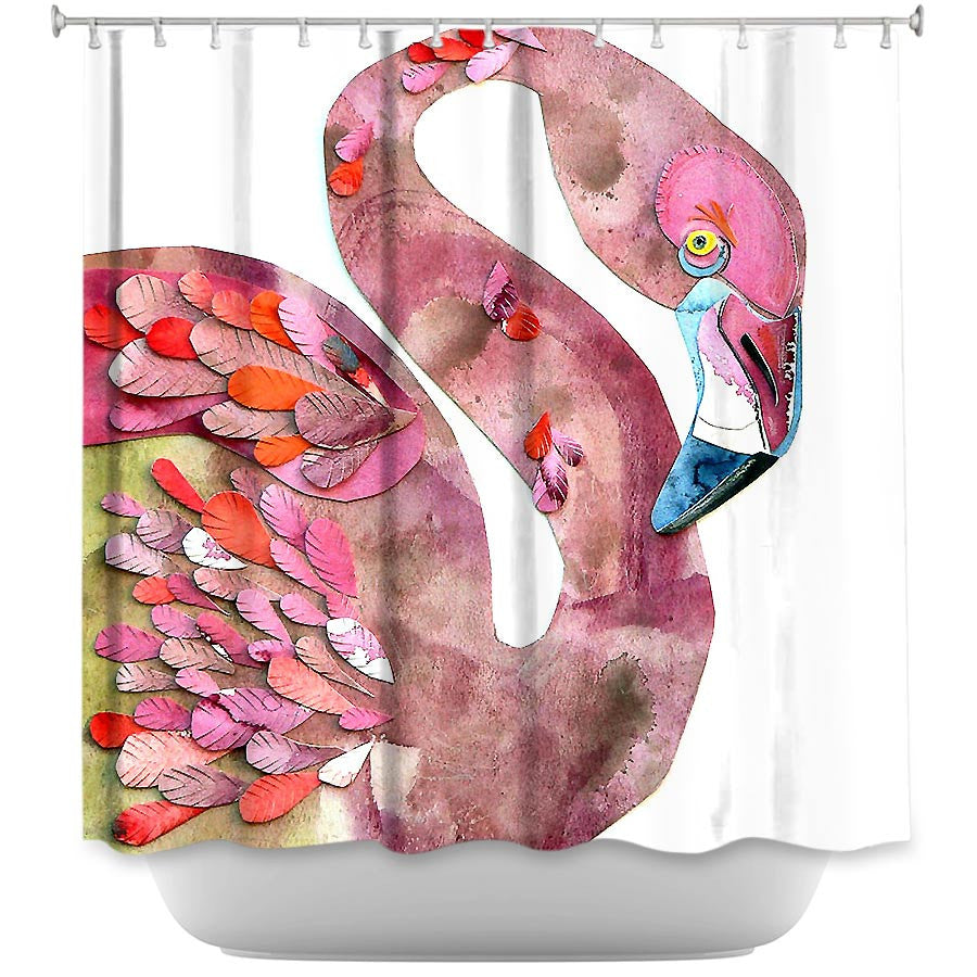 Flamingo by Marley Ungaro Fabric Shower Curtain