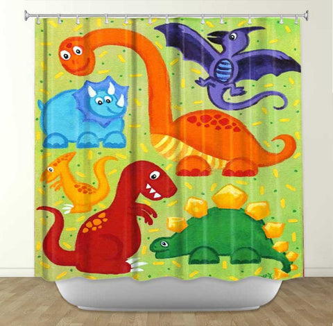 DiaNoche Designs Dinosaur Jumble by Nicola Joyner Fabric Shower Curtain