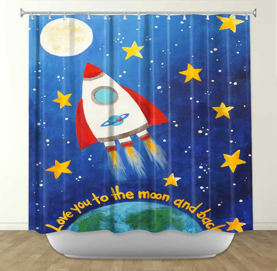 DiaNoche Designs Love You to the Moon Rocket by Nicola Joyner Fabric Shower Curtain