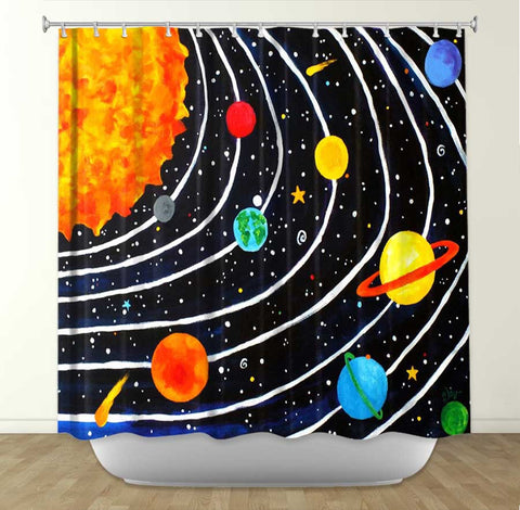 DiaNoche Designs Solar System by Nicola Joyner Fabric Shower Curtain